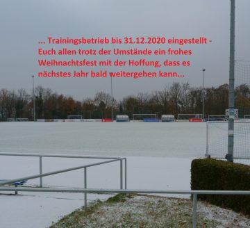 Einstellung Trainingsbetreib bis 31.12.2020